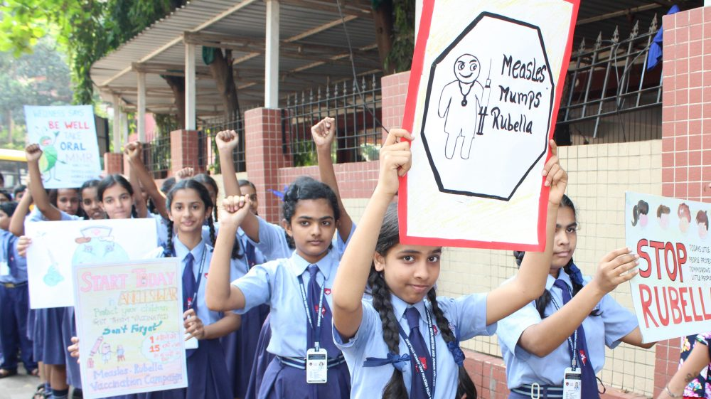 School children supporting the national Measles Rubella vaccination drive
